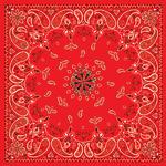 Zan B003 Bandanna 22x22 Red Paisley