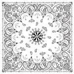 Zan B004 Bandanna 22x22 White Paisley