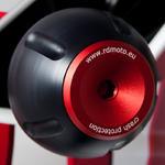 RDmoto PHV1 rámové protektory - Ducati Monster 696 08- červený eloxovaný hliník