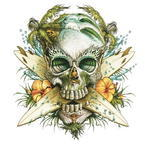 Paradise Skull Sticker, 1ks