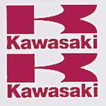 Kawasaki Logo Stickers Large, Pair, Red