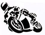 Motorcycle Sticker Black, 16 x 12 cm