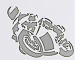 Motorcycle Sticker Silver, 16 x 12 cm