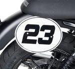 Barracuda boční číslové tabulky - Moto Guzzi V7 II Special/Stone 2015 tabulky s držáky, bílé samolepky