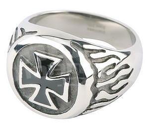 Finger Ring Iron Cross, Black/Silver
