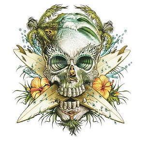 Paradise Skull Sticker, 1ks