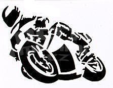 Mini Motorcycle Sticker Black, 8 x 6 cm