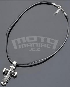 Cross Necklace, Leather Band 45-52 cm - 2