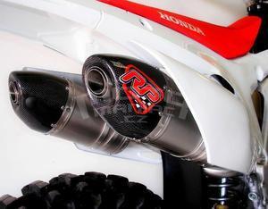 RP výfukový systém 2x ovál carbon/nerez mat - Honda CRF450R 2015 - 2